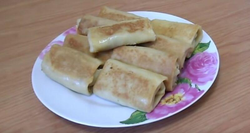 блинчики с куриной печенью и рисом