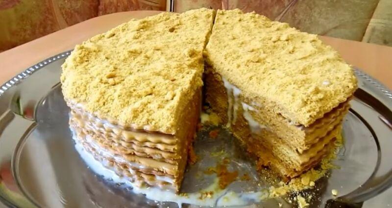 торт медовик со сметаной и сгущенкой