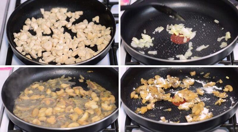 отдельно обжариваем курицу, лук и грибы