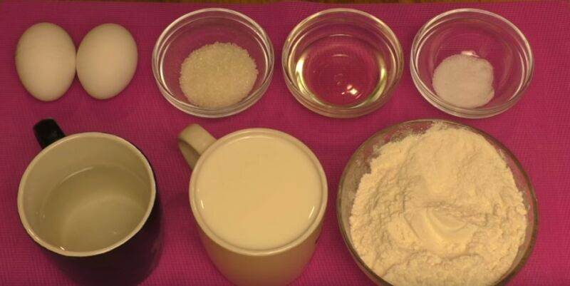 продукты для блинов на молоке и воде