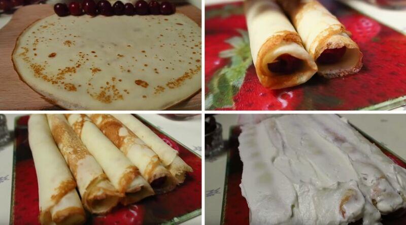 формируем первый слой блинного торта с вишней