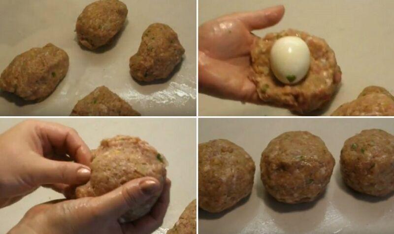 формируем зразы с целым яйцом внутри