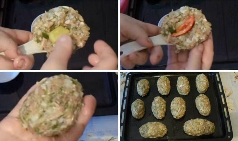 начиняем зразы картофелем, перцем и помидором
