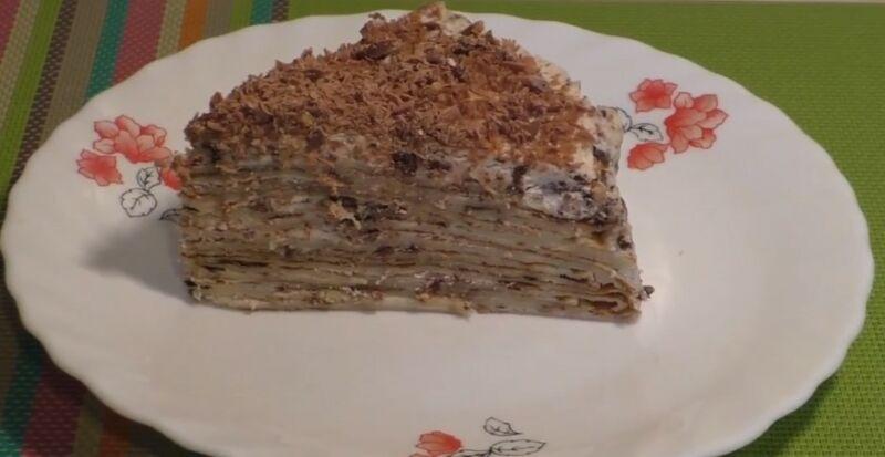 блинный торт с марскарпоне в разрезе