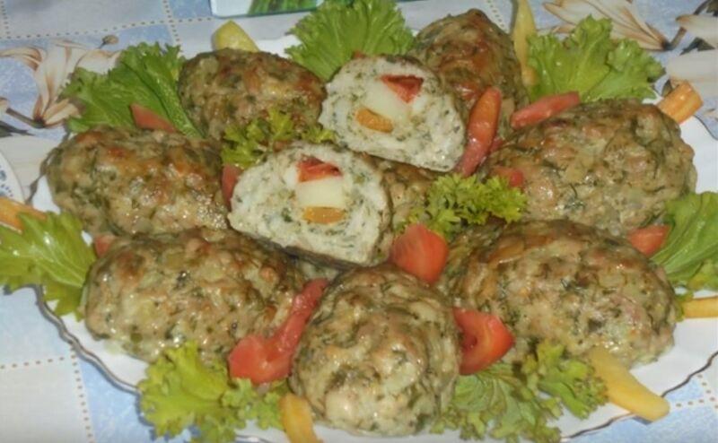 зразы с картошкой, перцем и помидором