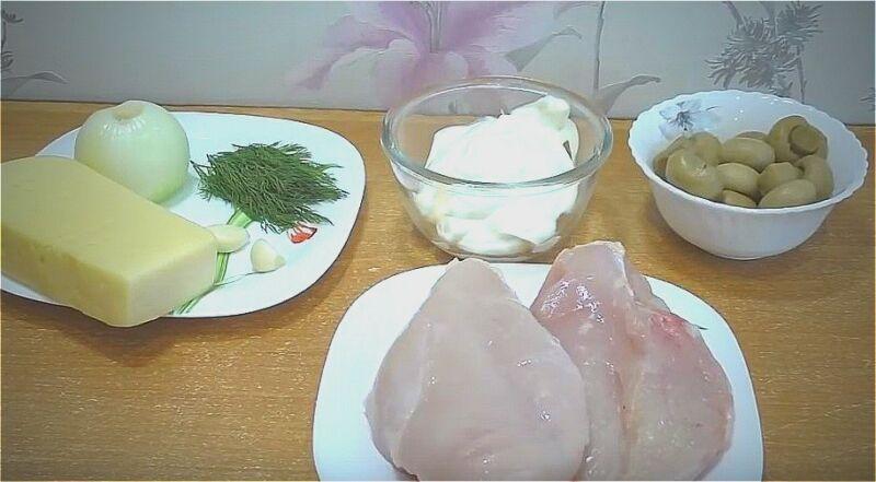 ингредиенты для куриной грудки с грибами в духовке