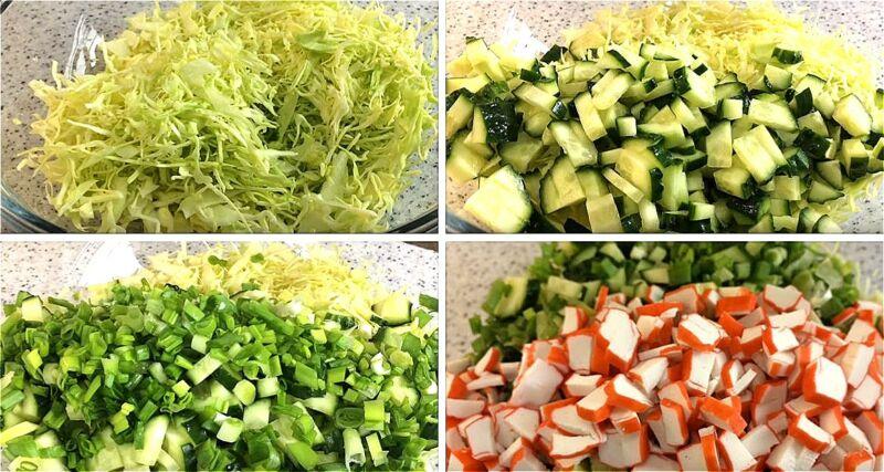 нарезаем капусту, огурцы, зеленый лук и крабовые палочки