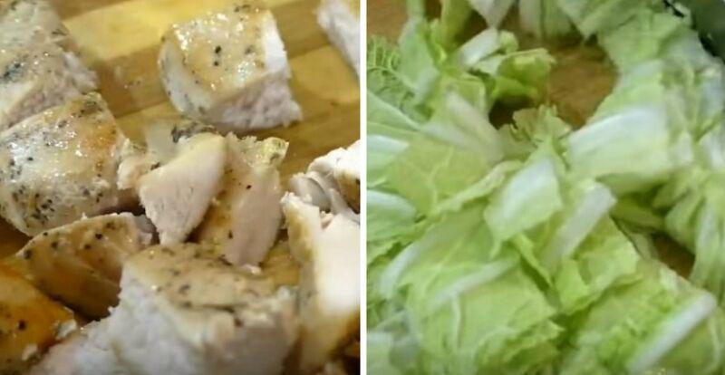 нарезаем жареное филе и пекинскую капусту