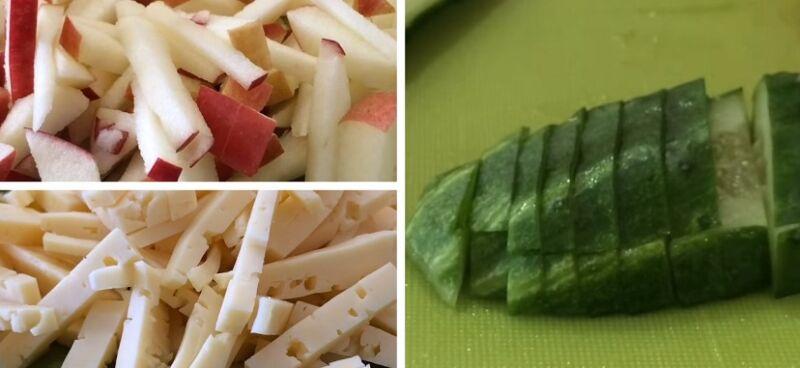 нарезаем огурец, яблоко и сыр