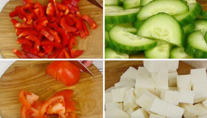 нарезаем овощи для салата Цезарь