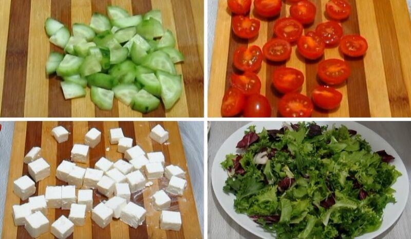 нарезаем продукты для овощного салата без майонеза