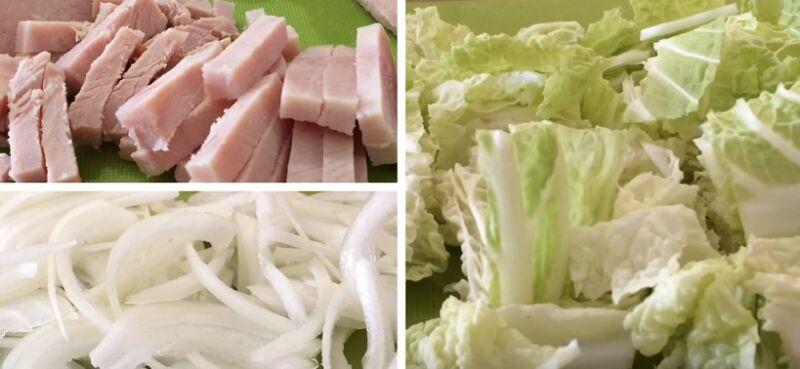 нарезаем ветчину, лук и пекинскую капусту