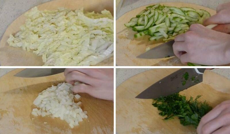 нарезаем капусту и огурец соломкой, лук кубиками, зелень измельчаем