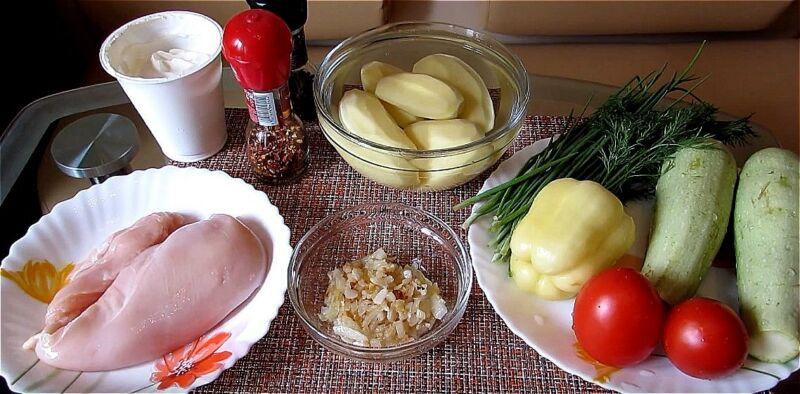 продукты для куриной грудки с кабачками
