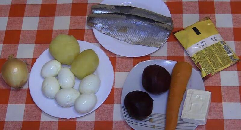 продукты для селедки под шубой с плавленным сырком