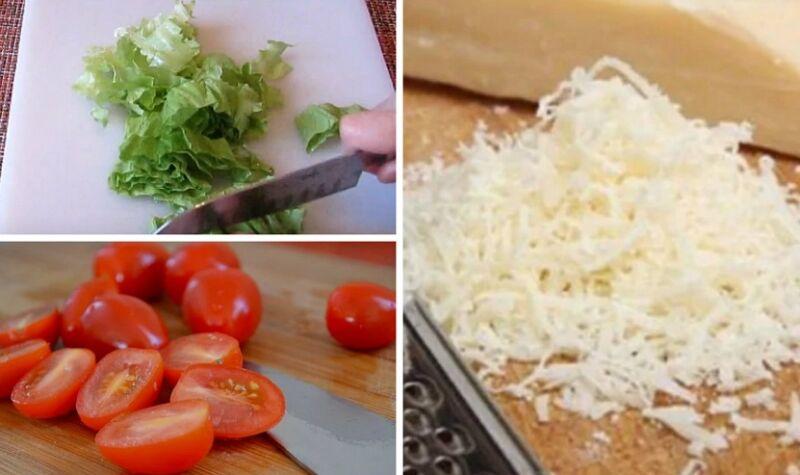 нарезаем листья салата и помидоры черри, сыр натираем на мелкой терке