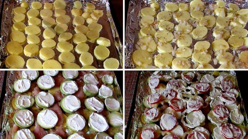 выкладываем овощи и куриное филе на противень