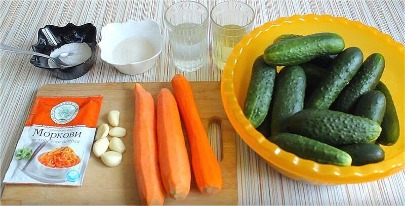 продукты для огурцов по-корейски на зиму с приправой для корейской моркови