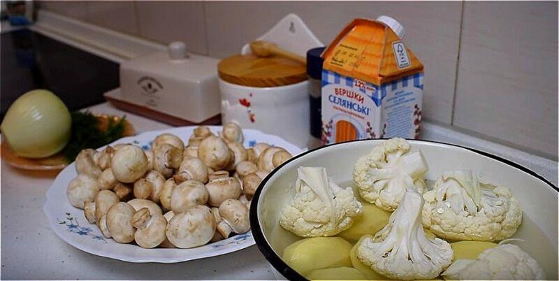 подготавливаем продукта для крем-супа из шампиньонов