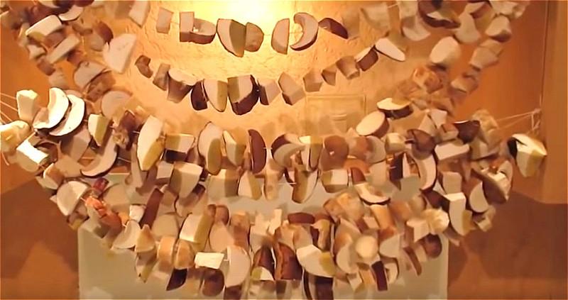надеваем грибы на нитку и подвешиваем на плитой