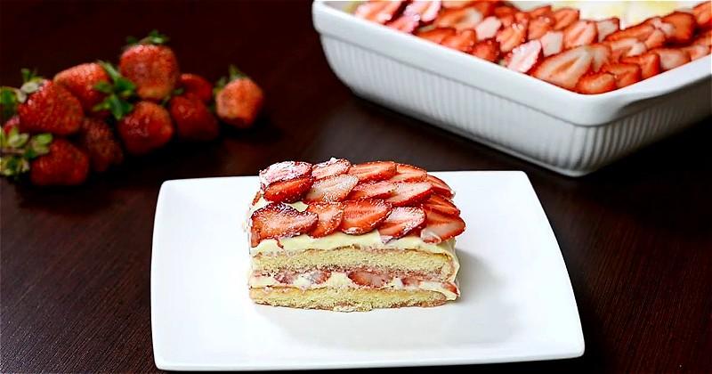 торт тирамису с клубникой