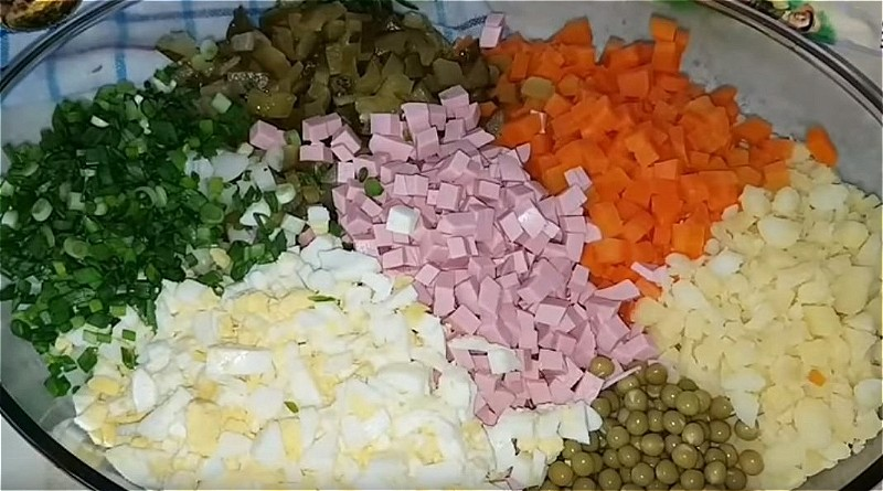 Нарезаем все продукты кубиками и складываем в глубокое блюдо