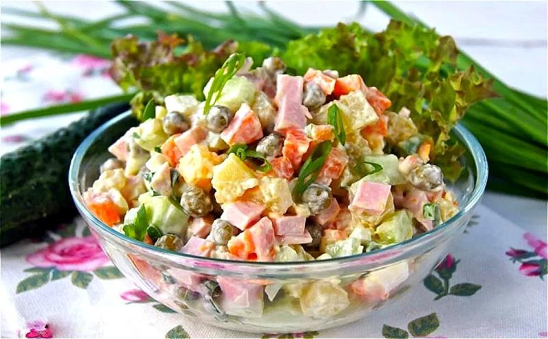 Салат оливье с колбасой- классические пошаговые рецепты