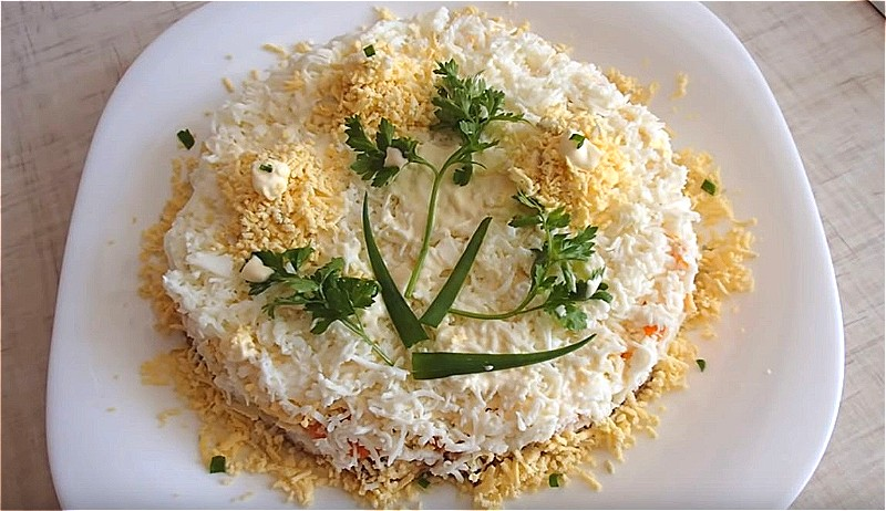 Салат Мимоза с сайрой без картошки
