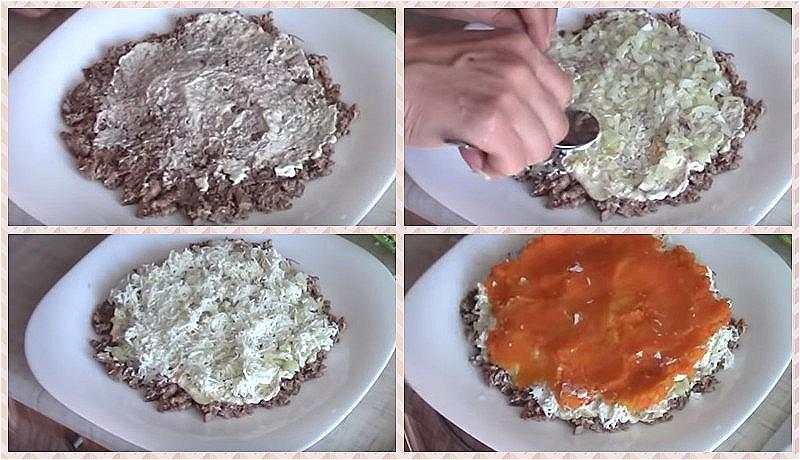 Выкладываем слои - сайра, лук, белки, морковь